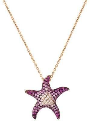 18K Diamond & Sapphire Starfish Pendant Necklace