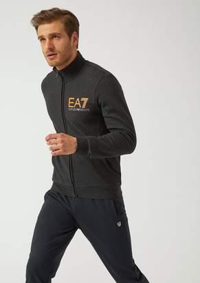 Emporio Armani Stretch Cotton Sweatshirt With Zip And Ea7 Logo Print