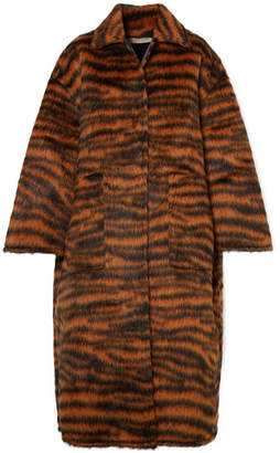Bottega Veneta Oversized Tiger-print Llama-blend Coat - Black