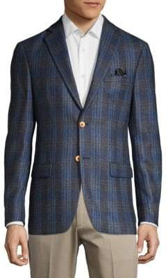 Tallia Orange Flannel Plaid Wool Sportcoat