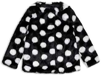 Kate Spade Girls' Polka Dot Faux Fur Coat - Baby