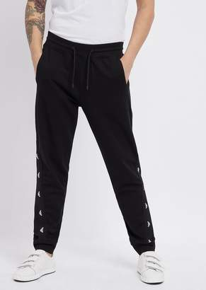 Emporio Armani Stretch Interlock Pants With Logo Bands