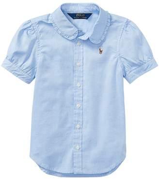 Polo Ralph Lauren Solid Oxford Shirt Girl's Short Sleeve Button Up