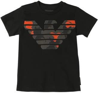 Emporio Armani Camo Logo Cotton Jersey T-Shirt