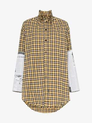 Balenciaga newspaper sleeves check shirt