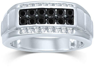 Black Diamond FINE JEWELRY Mens 1 CT. T.W. White and Color-Enhanced Sterling Silver Ring