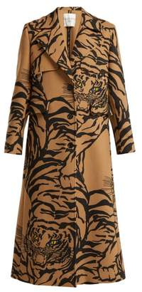Valentino Tiger Print Wool Blend Trench Coat - Womens - Beige Print