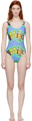 Emilio Pucci Blue Logo Low-Back Swimsuit