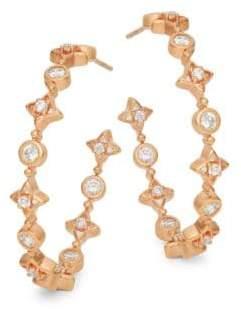 Freida Rothman Crystal and Sterling Silver Hoop Earrings