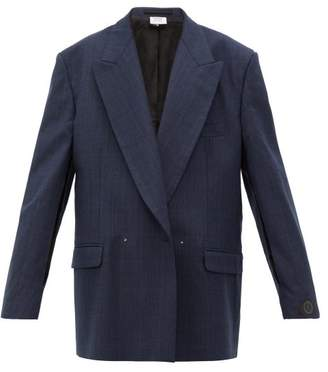 Vetements Slit Sleeve Double Breasted Check Wool Blazer - Womens - Navy