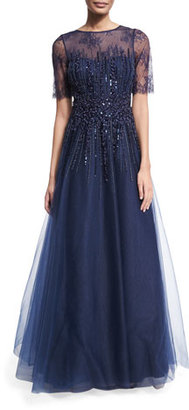 Rickie Freeman for Teri Jon Beaded Lace & Tulle Gown, Navy $995 thestylecure.com
