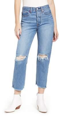 Levi's Wedgie High Waist Ripped Crop Straight Leg Jeans