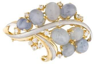 Star Sapphire & Diamond Sculptural Brooch