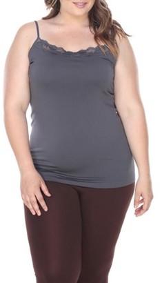 White Mark Women's Plus Size Lace Trim Tank Top