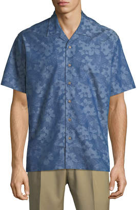 Neiman Marcus Men's Regular-Fit Wear It Out Palm-Jacquard Chambray Short-Sleeve Sport Shirt