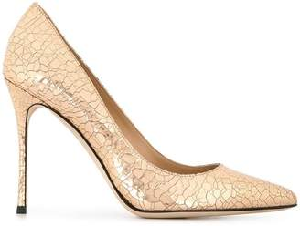 Sergio Rossi cracked leather Godiva pumps