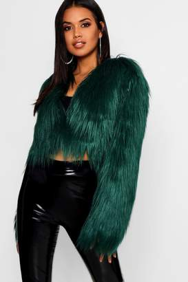 boohoo Shaggy Crop Faux Fur Coat