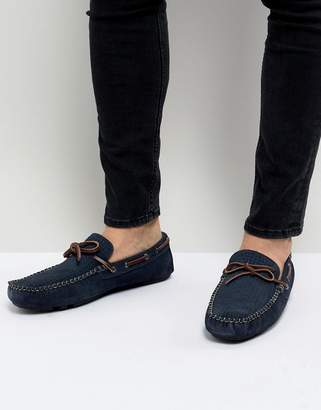 Dune Driving Shoes In Navy Suede