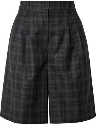 Tibi Checked Wool-blend Twill Shorts - Black