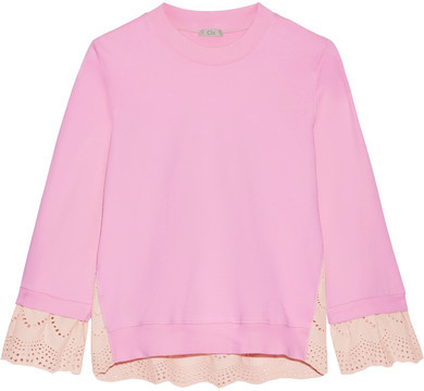 CluCLU - Broderie Anglaise-paneled Cotton-jersey Sweatshirt - Baby pink