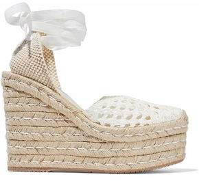 Paloma Barceló Ester Woven Leather Espadrille Wedge Sandals