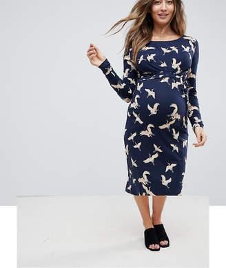 Mama Licious Mama.licious Mamalicious Bird Print Jersey Dress