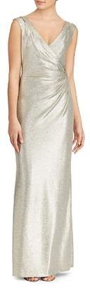 Ralph Lauren Metallic V-Neck Jersey Gown