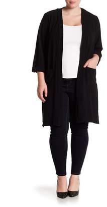 Bobeau Slit Side Long Soft Woven Jacket (Plus Size)