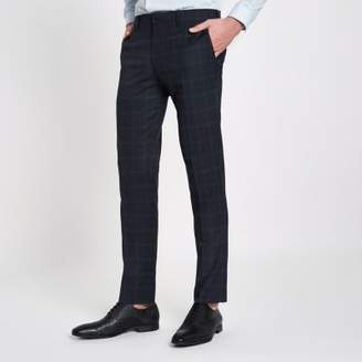River Island Navy check skinny suit pants