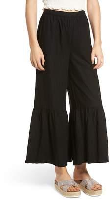 BP Ruffle Hem Linen Blend Crop Pants