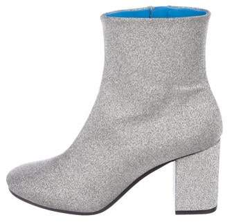 Balenciaga Glitter Round-Toe Ankle Boots