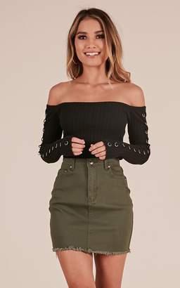 Showpo Outside Today denim skirt in khaki