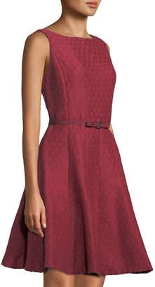 Gabby Skye Belted Dot-Jacquard Fit & Flare Dress