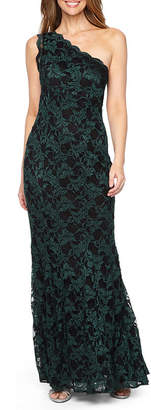 R & M Richards Sleeveless One Shoulder Lace Evening Gown