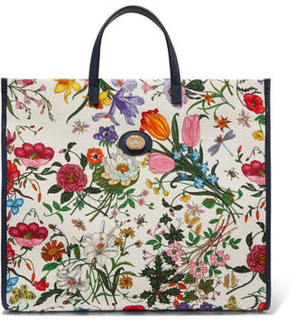 Gucci Flora Large Leather-trimmed Floral-print Canvas Tote - White