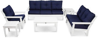 Polywood Vineyard 6-Pc Deep Lounge Set - Navy Sunbrella