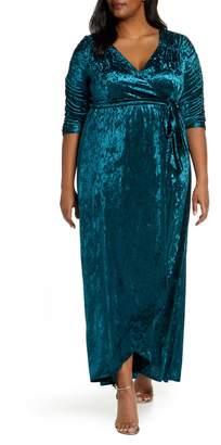 Kiyonna Cara Crushed Velvet Wrap Gown