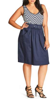 City Chic Ahoy Sailor Belted Fit & Flare Dress