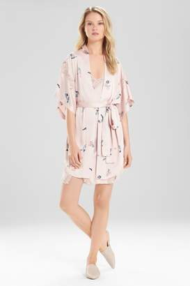 Natori Papillon Printed Feathers Satin Robe