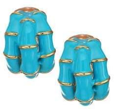 Kenneth Jay Lane Turquoise Clip-On Hoop Earrings