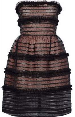 RED Valentino Strapless Tiered Point D'esprit Mini Dress