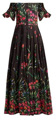 Carolina Herrera Off The Shoulder Floral Print Faille Gown - Womens - Black Print