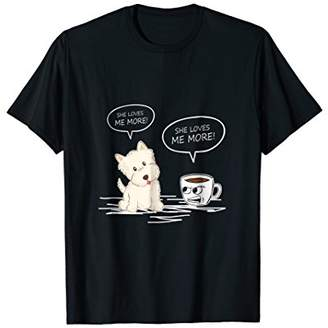 Victoria's Secret Westie Coffee She Loves Me More Funny Tshirt