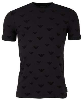 Giorgio Armani All Over Flocked Eagle Slim Fit T-shirt