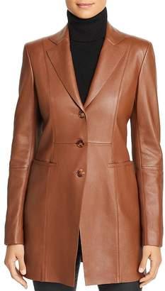 Lafayette 148 New York Jaqueline Leather Long Blazer
