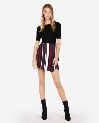 Express Striped Side Tie Wrap Mini Skirt