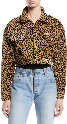RE/DONE Leopard-Print Cropped Jacket