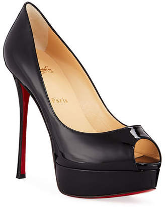 3a252414cd55 Christian Louboutin Fetish Peep-Toe Platform Red Sole Pump