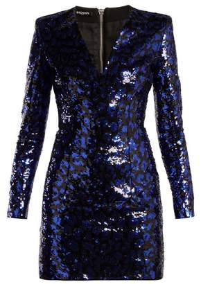 Balmain Leopard Sequined Mini Dress - Womens - Black Blue