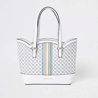 River Island Girls white rainbow scallop shopper bag